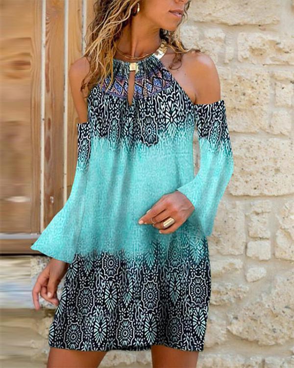 Long Sleeve Cold Shoulder Print Mini Dress