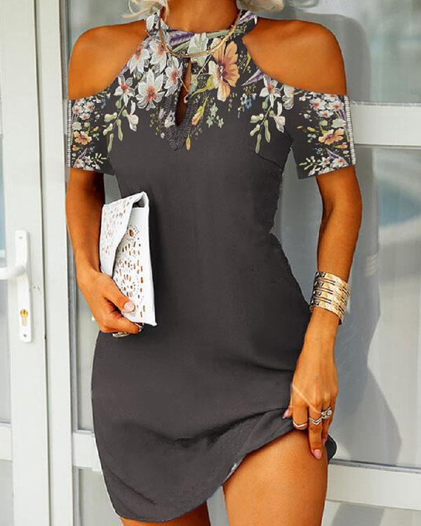 Sexy Cold Shoulder Floral Bodycon Mini Dress
