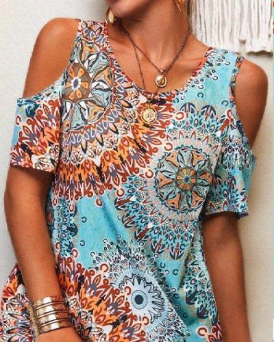 Vintage Printed Crew Neck Short Sleeve Dresses