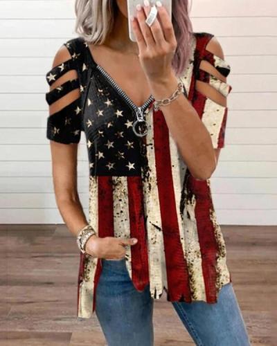 Women's Flag Zipper Casual Graphic Tees Designer