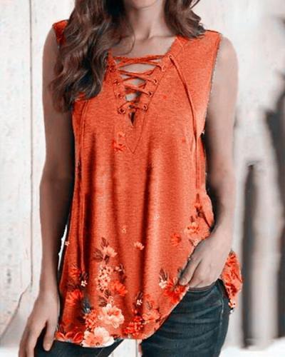 Floral Print Lace up V Neck Tank Shirt&Top