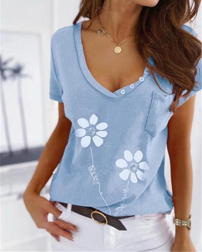 Printed Slim V Button Collar Short Sleeves