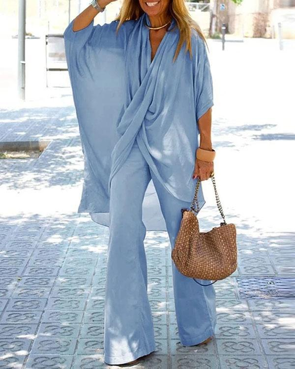 Simple Casual Loose V Neck Top Pants Set