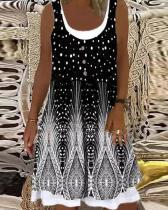 Vintage Feather Print Patchwork Tie Dye Midi Dress