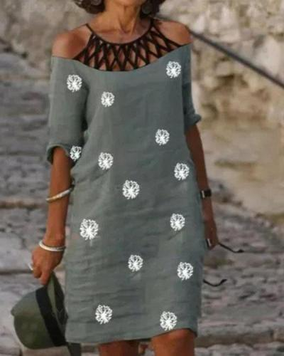 Cold Shoulder Patchwork Print Casual Shift Midi Dress