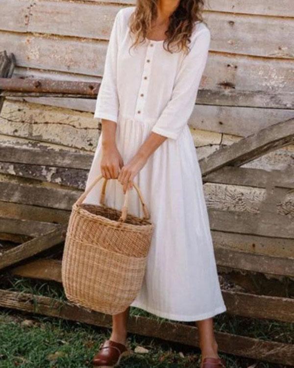 Elegant Button Pure Color Round neck Linen Pleated Dress