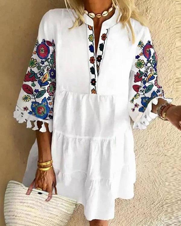 Women Vintage Print Tassel Dress Mini Dress