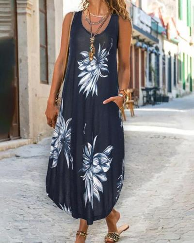 Plus Size Sleeveless Print Round Neck Casual Shift Maxi Dresses