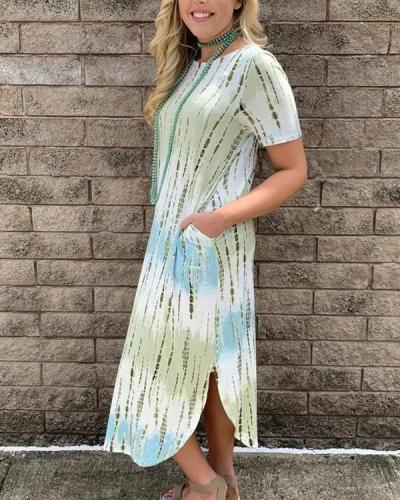 Loose Tie-Dyed Pocket Split Hem Crew Neck Midi Dress