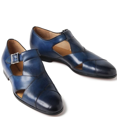 Men's Business Casual Low Cut Round Toe Breathable Leather Shoes