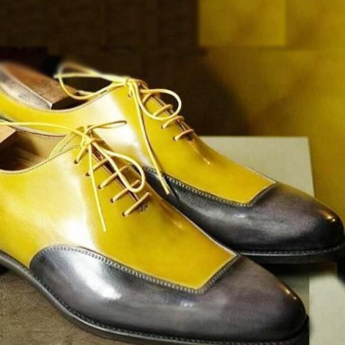 New Round Toe Men's Color Block Brogue Shoes