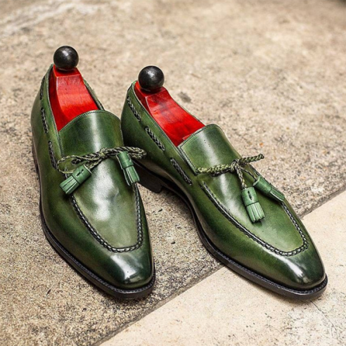 British Style Round Head Wear-resistant Green Tassel Bow Men's Leather Shoes