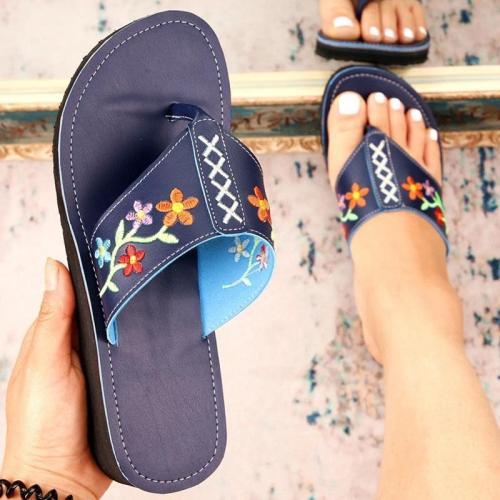 Women Casual Fahion Pu Floral Embroidery Flip-flop Platform Sandals