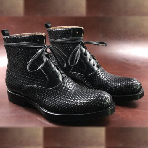 Men's Round Toe British Braided Martin Leather Boots