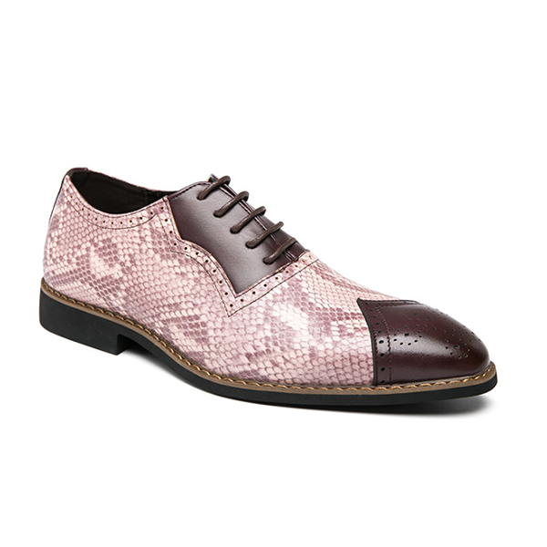 Snake Pattern Men's Casual Business Leather Shoes