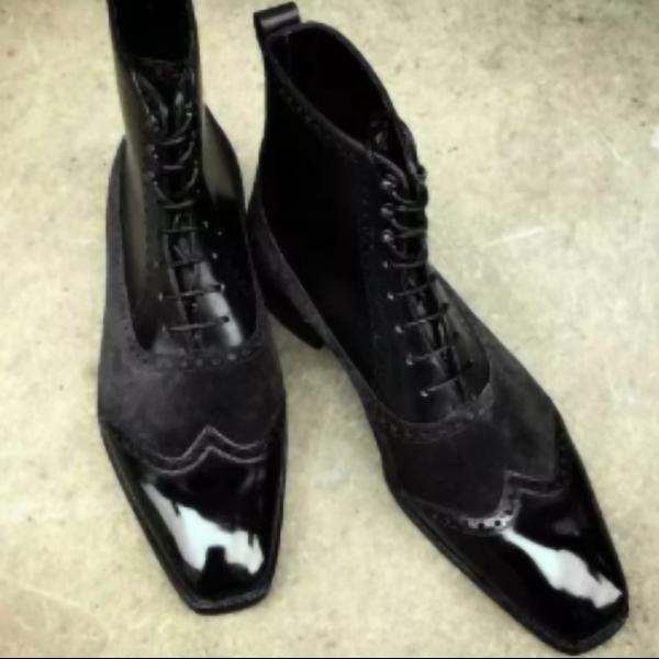 Black Suede Brogue Boots