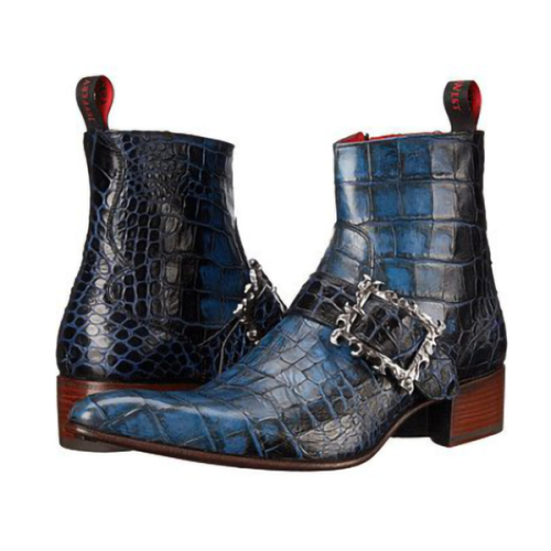 Blue Check Button Men's Short Boots