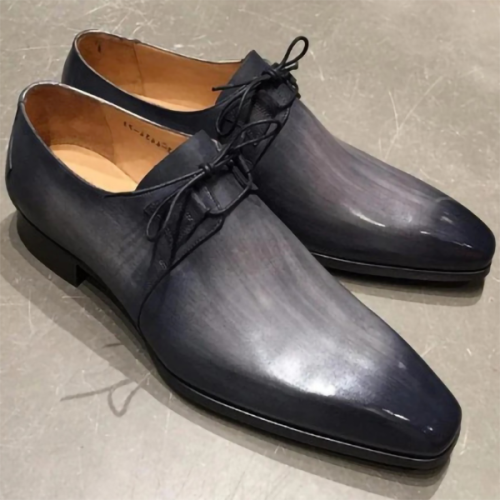 Men's Lace-up Leather Stitching Color Matching Shoes