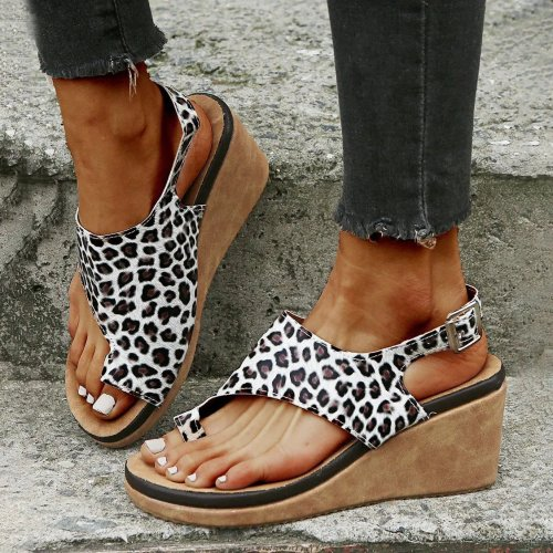 Women's Leopard Print Toe-Strap Wedge Sandal