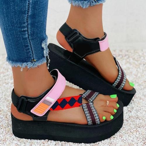 Women Casual Fashion Cloth Color-Blocking Magic Tape Platform Sandals