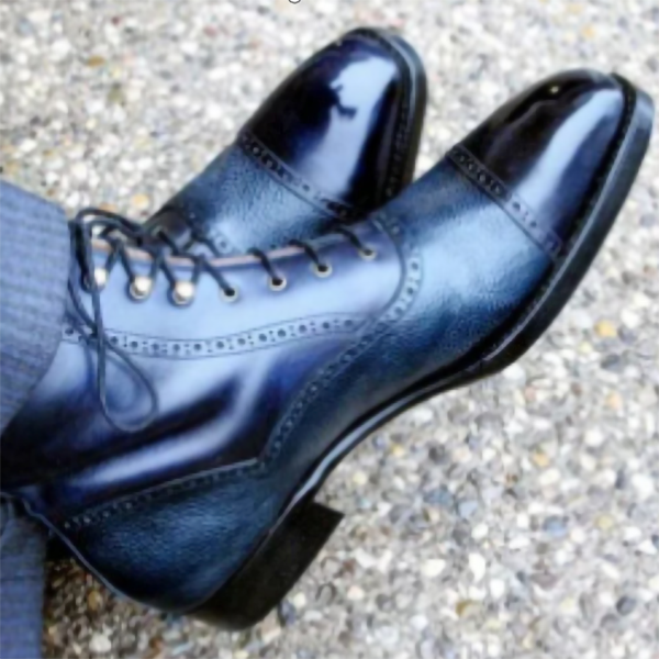 New Men's Round Toe Low-heel Casual Leather Boots