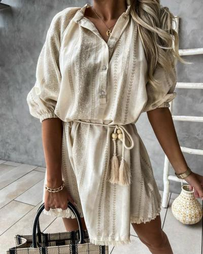 Tassels Ethnic Print Half Sleeve Mini Dress