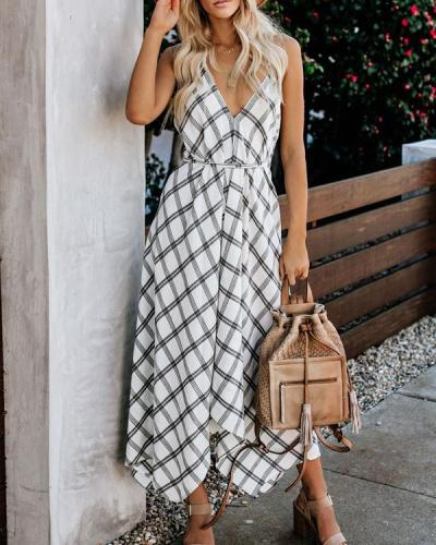 Elegant Black And White Plaid Print Dress