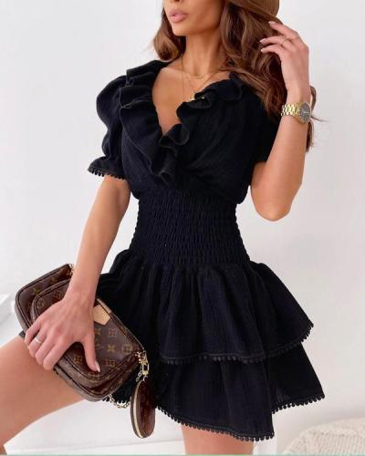 Off Shoulder Ruffles Tight Waist Mini Dress