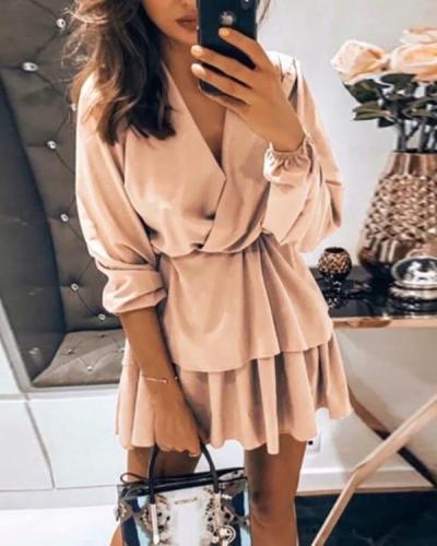 V Neck Long Sleeve Tiered Mini Dress