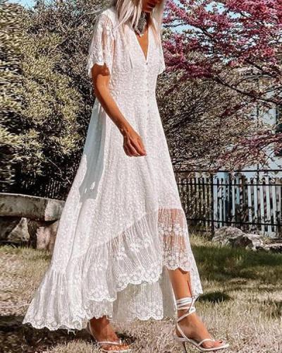 Elegant Summer Lace Irregular Maxi Dress