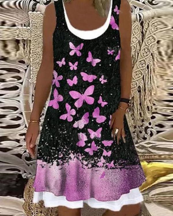 Vintage Butterflies Digital Print Sleeveless Patchwork Midi Dress