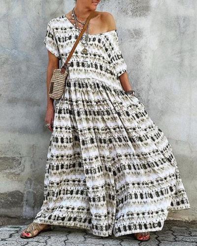 Women Print Big Hem Maxi Dress