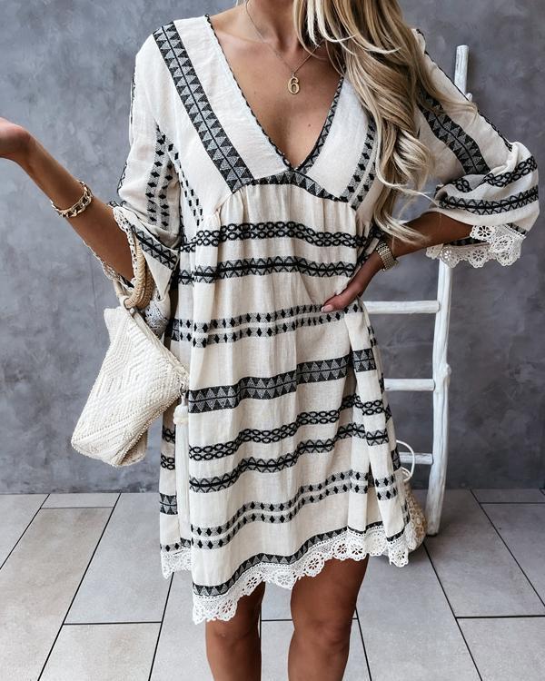 Print Lace Hem V Neck Mini Dress