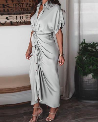 Satin Pleated Classy Bandage Shirt Dress