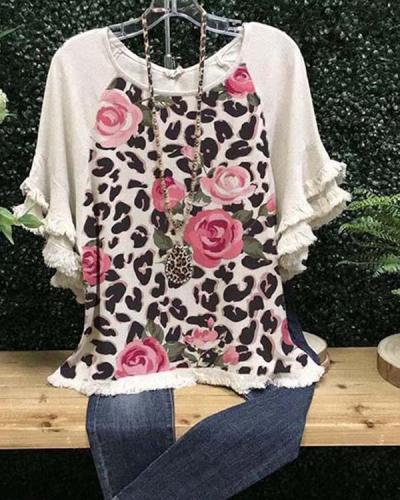 Leopard-Print Short Sleeve Crew Neck Casual Shirts & Tops