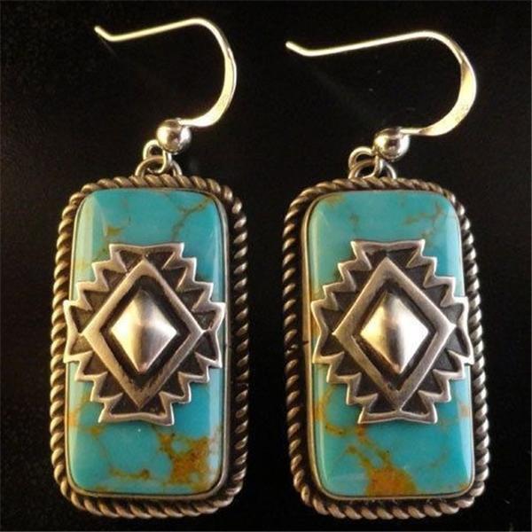 New Vintage Tibetan Silver Turquoise Earrings