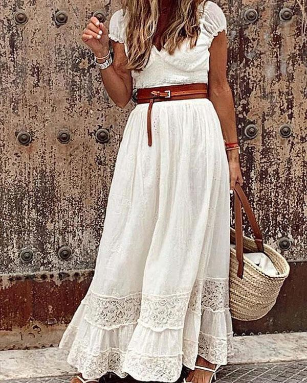 Classy Vacation V Neck Solid Color Maxi Dresses With Waistband