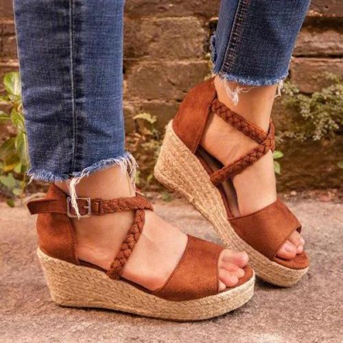 Women Fashion Woven Element Wedge Sandals
