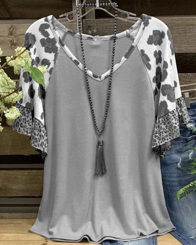 V Neck Leopard Cotton Short Sleeve Shirts & Tops