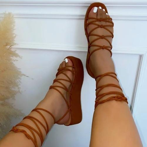 Lacing Wedge Heel Sandals