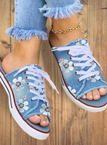 Women's Lace-up Flats Denim Flat Heel Slippers