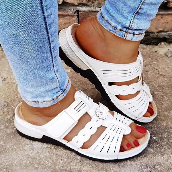 Casual Pu Hollow-Out Soft Sole Flat Sandals