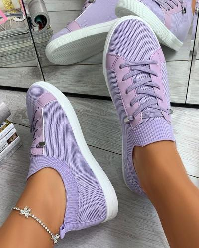 Women's Breathable Slip On Sneakers Solid Color Flat Shoes