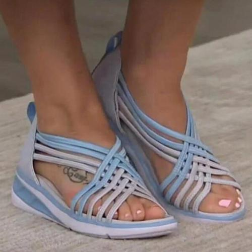 Casual Multi-Strappy Slip On Wedge Sandals