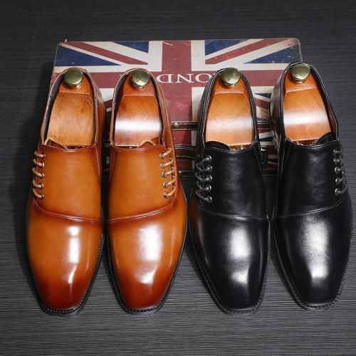 Elegant Fashion Men Luxury Leather Brogue Lace Up Dress Shoes