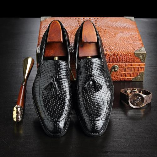 HOT Men's Formal Dress Shoes England Retro Tassel Leather Loafers Shoes