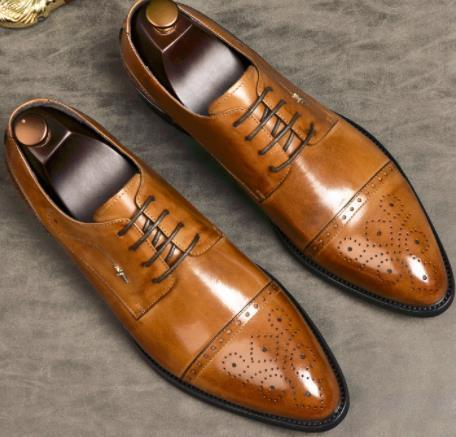 Men Genuine Leather Italian Designer Handmade Oxfords Formal Shoes