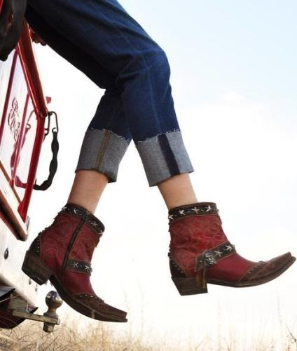 Coral Red Black Ankle Boots