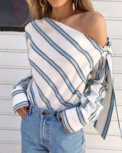 Oblique Collar Long Sleeve Bowknot Stripes Blouses Tops