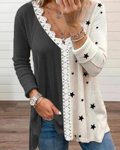 White and Black Color-block Star Priting V-neck T-shirt